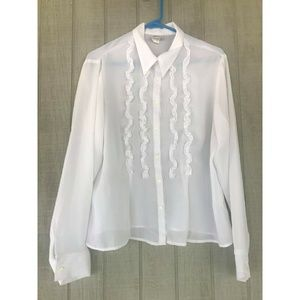 Tops - White Causal Button Down
